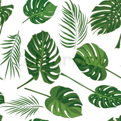 Poster Daun Suplir seamless tropical pattern with palm leaves in