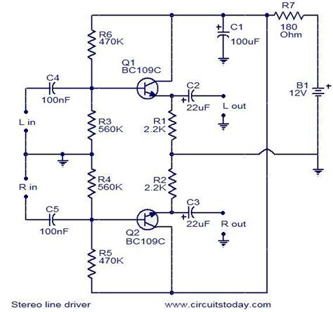 transistor line driver stereo line driver circuit electronic circuits and diagram electronics projects and design