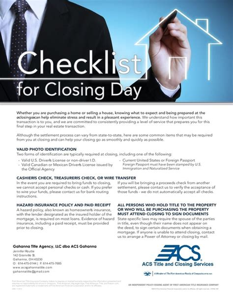 Closing Day Home Letter Real Estate Title Acs Gahanna Title Title Agency In Columbus Acs Gahanna Title Offers