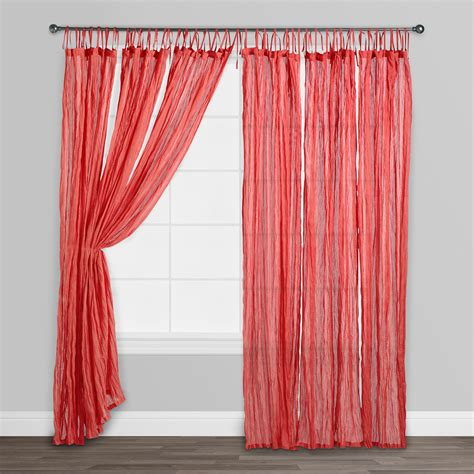 red cotton curtains red crinkle voile cotton curtains set of 2 84 quot l ebay