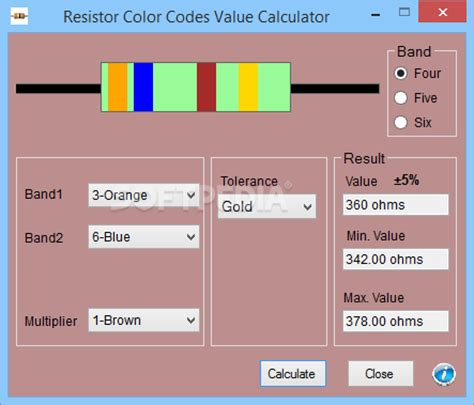 resistor color codes value calculator