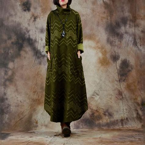 high quality beautiful jacquard turtleneck dress oversized