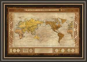 large framed us map world map brown framed canvas