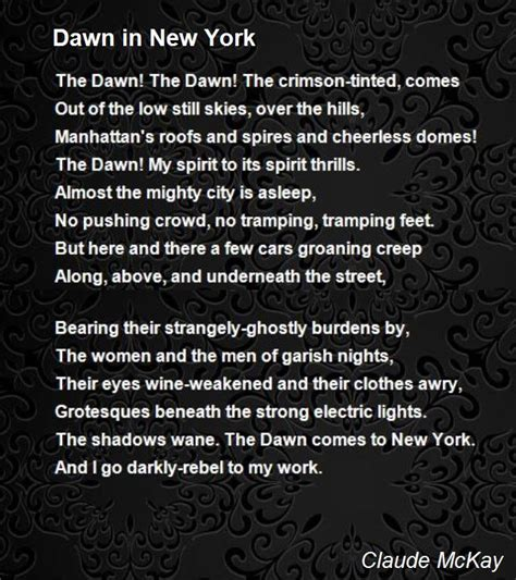 I Am In New York City For My Appearance On The Mar Snarkspot by In New York Poem By Claude Mckay Poem