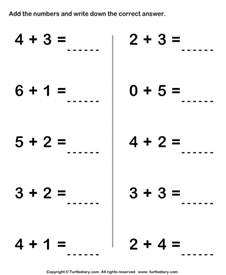 adding two one digit numbers sums up to ten worksheet