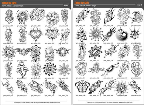 tattoo catalogue tatoo for girls vector clipart for professional use