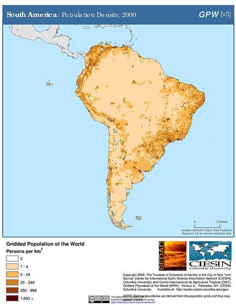population map of south america map gallery sedac