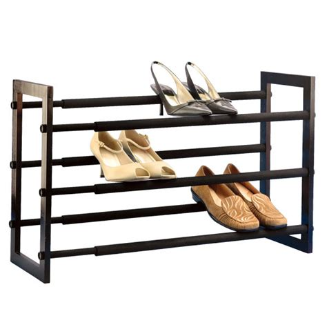 walnut 3 tier grippy shoe rack the container store