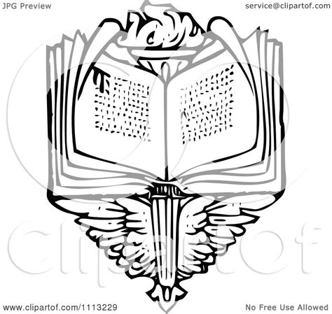 clipart vintage black and white open book over wings and a