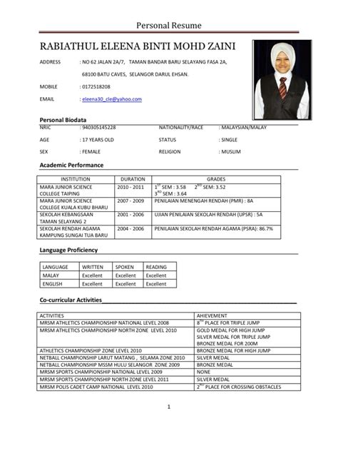 Format Resume Pdf Bahasa Melayu Contoh Cover Letter Fresh Graduate Mechanical Engineering