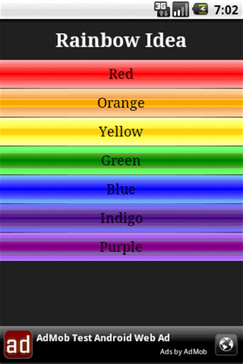 what are the seven colors of the rainbow rainbow idea android apps on play