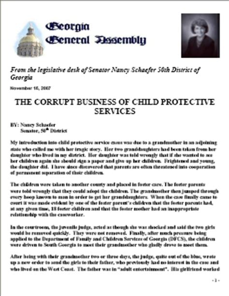 family court report template report of senator nancy schaefer on cps corruption