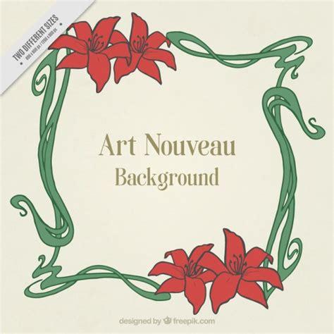 jugendstil rahmen nouveau background with floral frame vector free