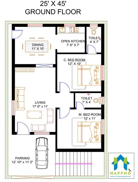 2 bhk house plans 2 bhk floor plan for 45 x 25 plot 1125 square feet 125 squareyards happho