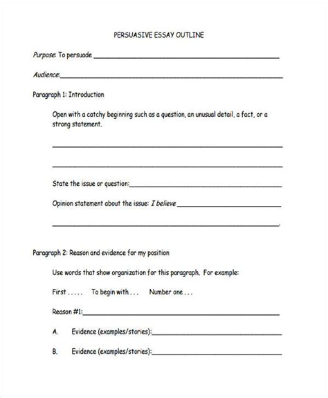Personal Opinion Essay Outline by Resume Exle Outline For Persuasive Essay Outline Template Outline For Persuasive Essay