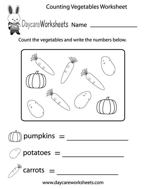 vegetables worksheet free counting vegetables worksheet for preschool