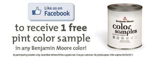 free sle pint of benjamin paint offer money saving 174