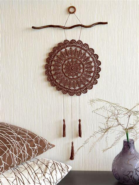 large crochet dream catcher crochet wall decor brown