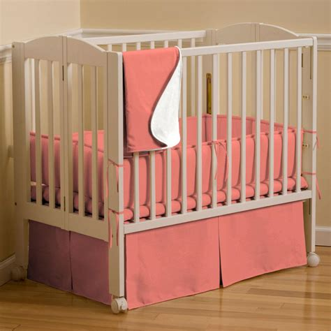 Solid Coral Mini Crib Skirt Box Pleat Carousel Designs Mini Crib Bed Skirt