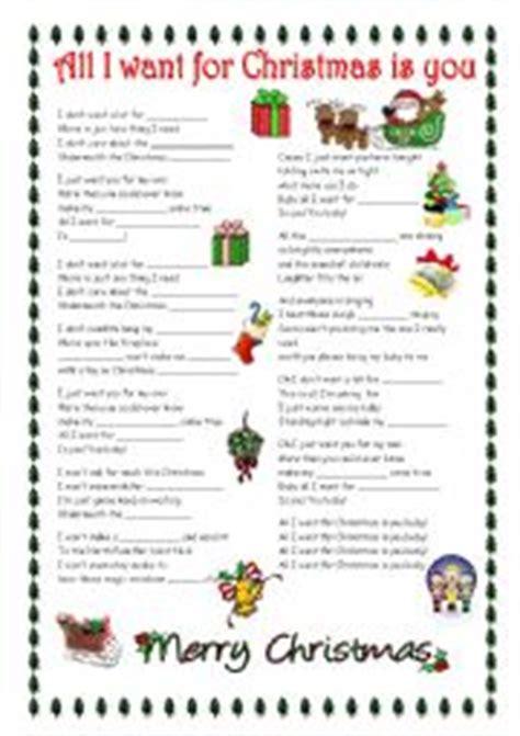 printable lyrics all i want for christmas is you english worksheets all i want for christmas is you