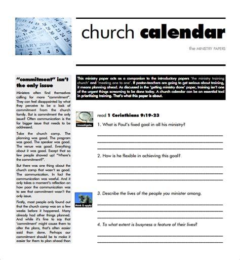 10 Sle Calendar Templates Sles Exles Format Sle Templates Free Church Calendar Templates