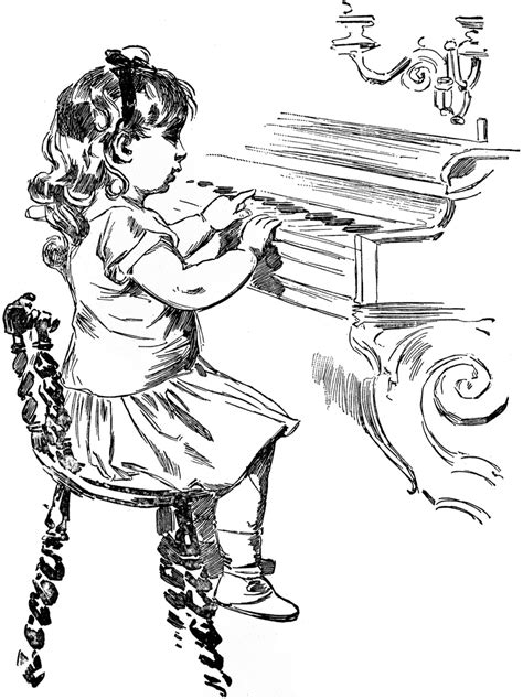 coloring page girl playing piano girl playing piano clipart etc
