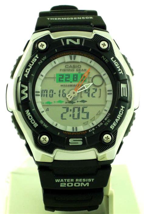 Jam Casio Original Aqw 101 1aver casio gents fishing gear analog digital alarm chronograph