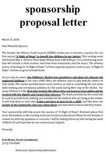 Sponsorship Letter Benefit Sle Sport Event Sponsorship Template Free School Proposals
