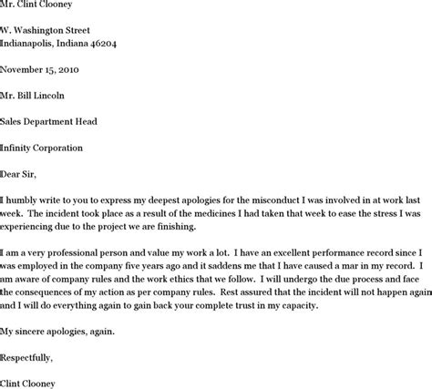 apology letter exle sle letter of apology for misconduct free