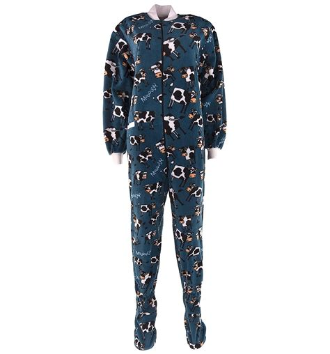 lazy on lazy one blue cow footed pajamas for adults