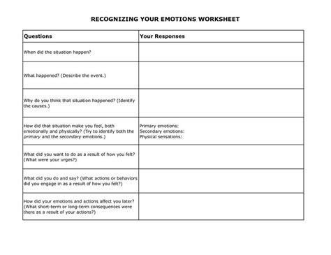 Free Printable Coping Skills Worksheets by Free Printable Dbt Worksheets Recognizing Your Emotions