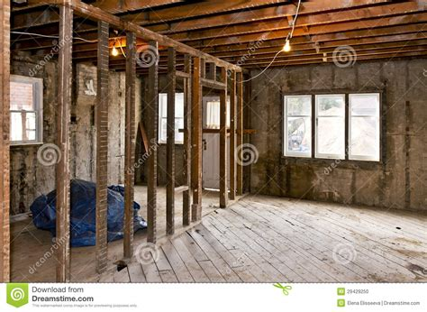 home interior gutted for renovation stock photo image