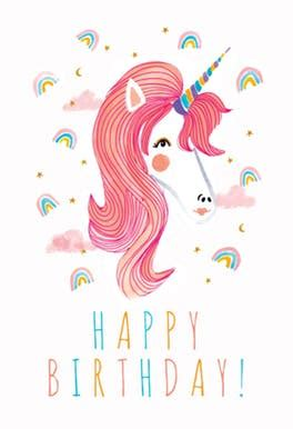 free printable birthday card unicorn unicorn rainbows free birthday card greetings island