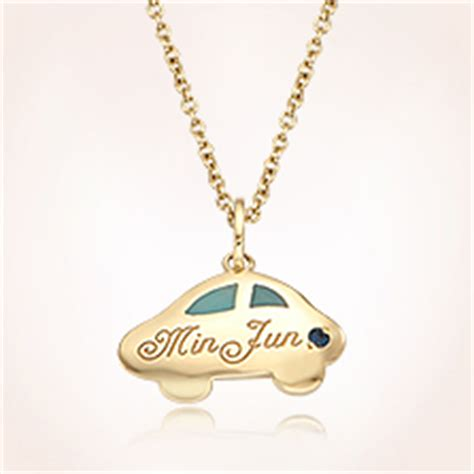 Fr Baby Blue Chocker Sabrina gold baby jewelry for boys 14k yellow gold anddy car blue engravable pendant baby necklace
