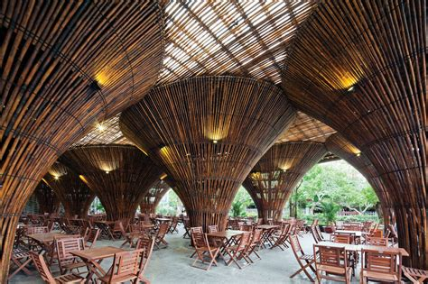 open air cafe built  thousands  bamboo canes