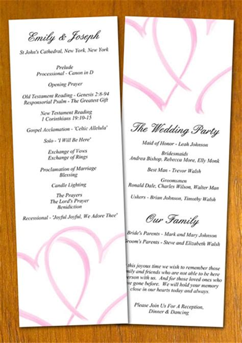 free sle wedding program template
