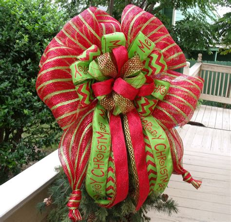 large christmas bow topper red  lime christmas tree topper