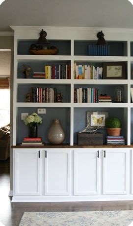 diy built in bookcases love the paint in the shelves