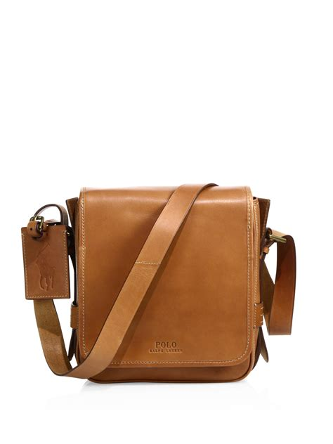 Visval Messenger Bags Brown polo ralph compact leather messenger bag in brown for lyst