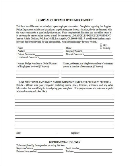 employee misconduct form template sle employee misconduct forms 8 free documents in