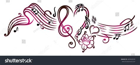 music notes clef rose hearts cherry stock vector 469928339