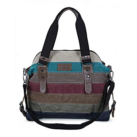 Transitions Color Block Handbag by S Striped Color Block Canvas Handbag Shoulder Bag
