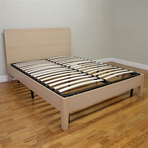 europa size wood slat and metal platform bed frame