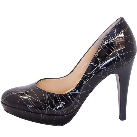 kaiser nixe black and silver high heel court shoes