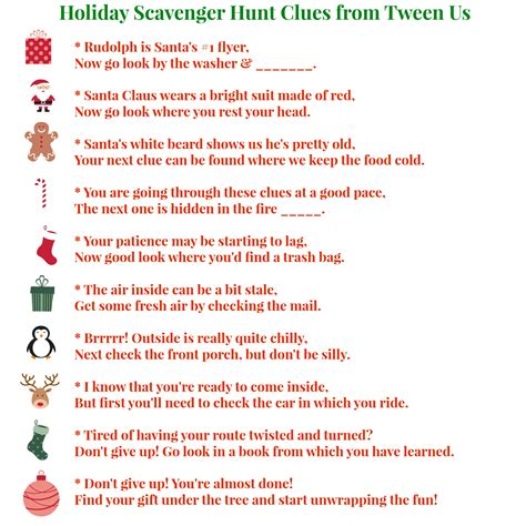christmas scavenger hunt ideas scavenger hunt clues from