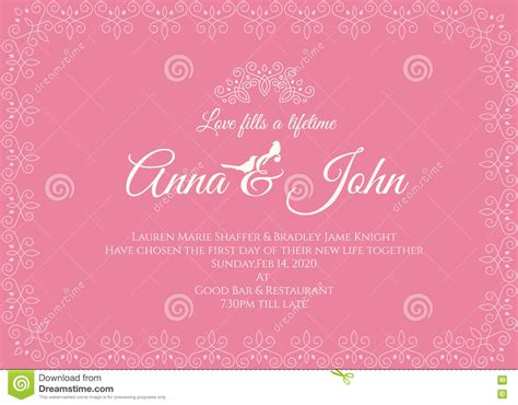 Wedding Card Lines by Wedding Card Pink Line Frame Vector Template Design