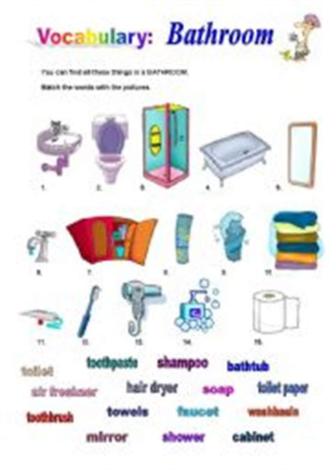 Things In The Bathroom In by Bathroom Worksheet By L 237 Dia