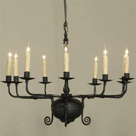 Wrought Iron Candle Chandelier Antique Wrought Iron Chandelier At 1stdibs
