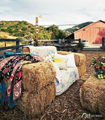 straw bale couch outdoor parties hay bale seating and ottomans on pinterest