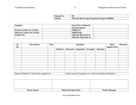 Material Receipt Form Template by Section Iii Mis Formats